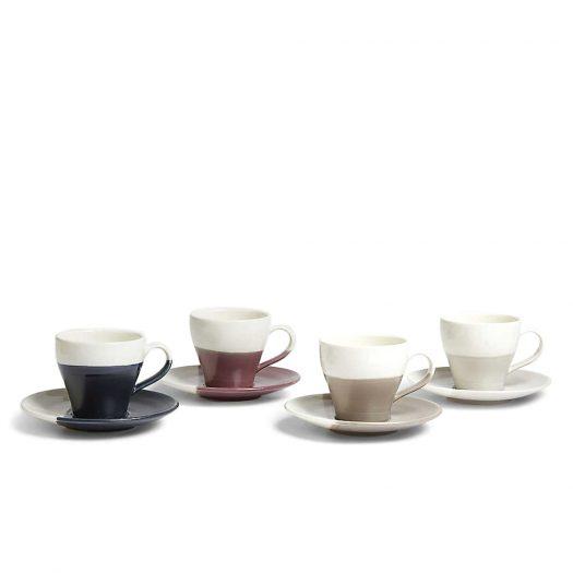 Porcelain Espresson Cup and Saucer Set of Four