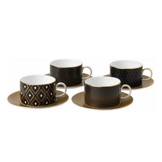 Arris China Teacups and Saucers Set of Four