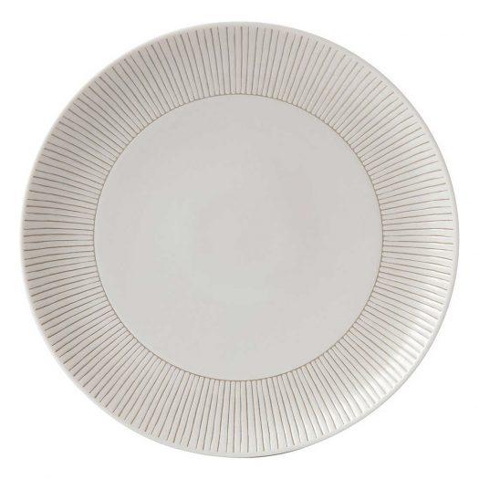 Ellen DeGeneres Taupe Stripe Porcelain Plate 28cm