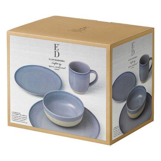 Ellen DeGeneres Brushed Glaze Polar Blue 16-Piece Dining Set