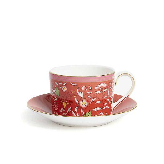 Wonderlust Crimson Jewel Teacup and Saucer