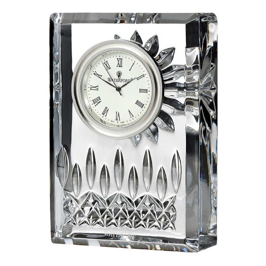 Lismore Crystal and Brass Clock 12cm