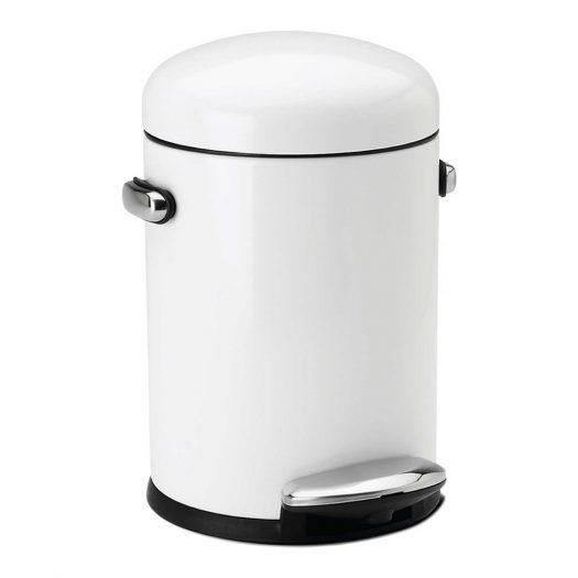 Retro White Steel Pedal Bin 4.5L
