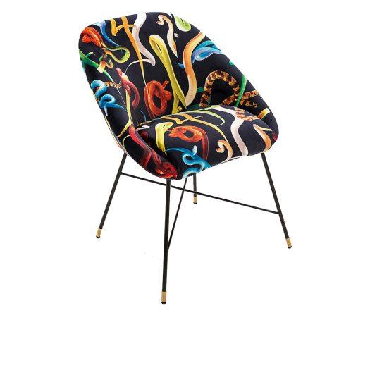 Seletti Wears Toiletpaper Snake-print Velvet Chair 50cm X 60cm