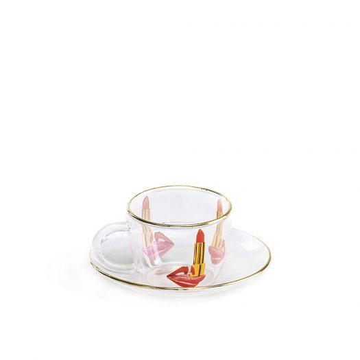 Seletti Wears Toiletpaper Tongue Printed Glass Coffee Set