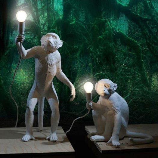 Sitting Monkey Resin Lamp