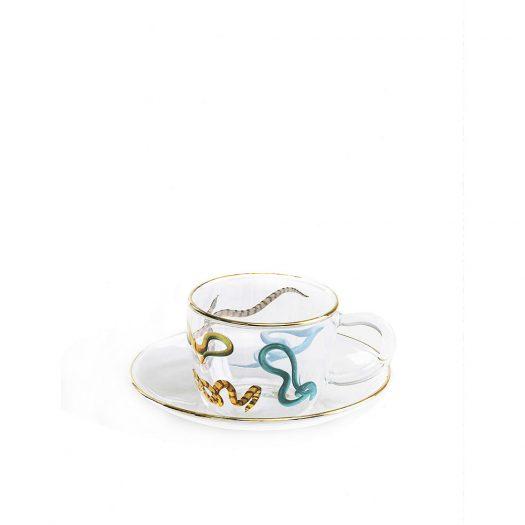 Seletti Wears Toiletpaper Snakes Printed Glass Coffee Set