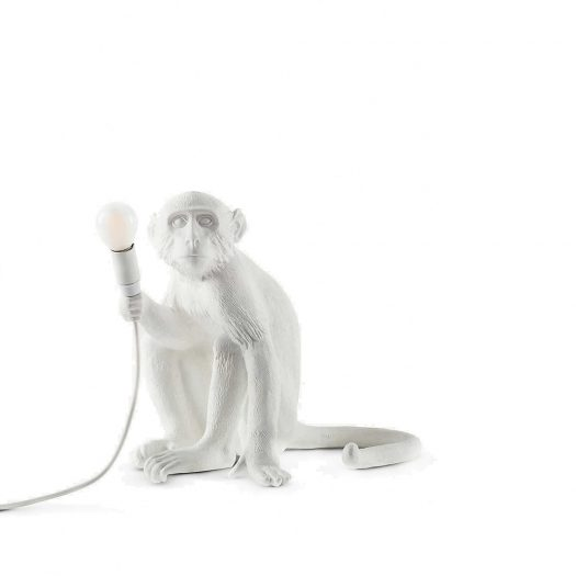 Sitting Monkey Resin Lamp 34cm