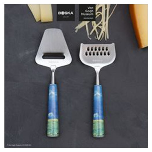 Van Gogh Mini Ceramic and Steel Cheese Set of Two