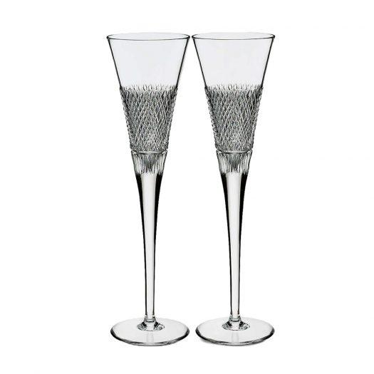 Diamond Line Crystal Flute Glasses Set of Two