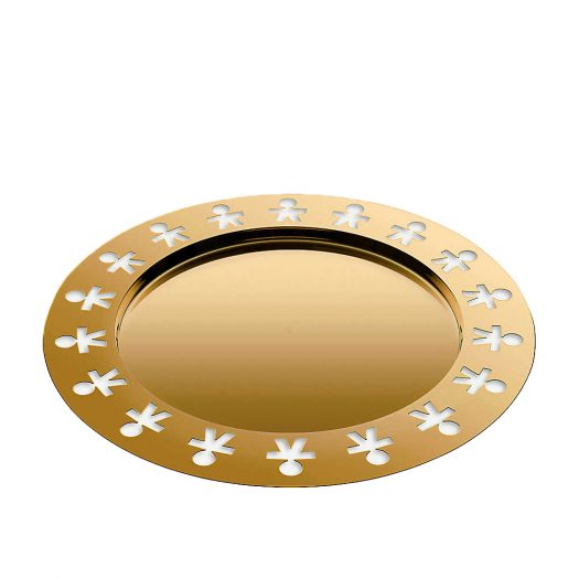 Girotondo Gold-plated Stainless Steel Round Tray 40cm