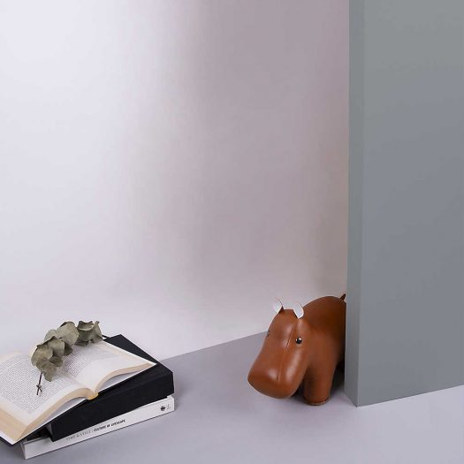 Hippo Faux-leather Doorstop 24cm