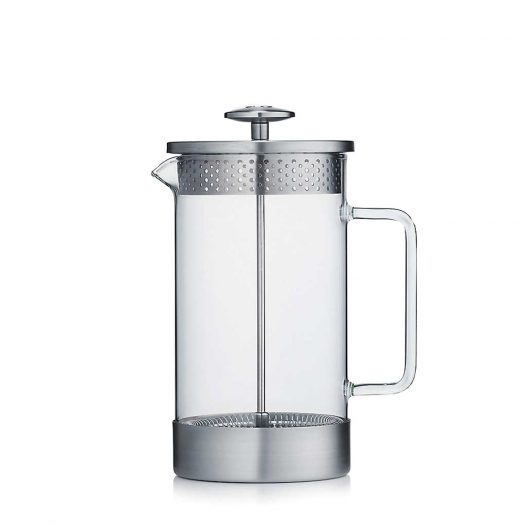 Eight Cup Borosilicate Glass and Stainless-Steel Coffee Press 1L
