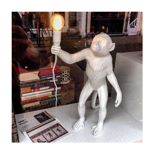 Standing Monkey Resin Outdoor Lamp