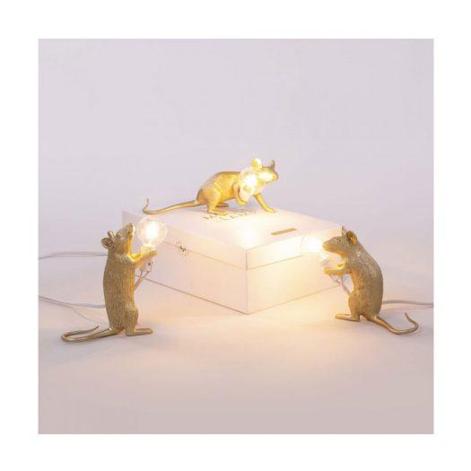 Step Mouse Metallic Resin Lamp 15cm