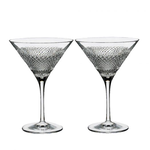 Waterford Set of Two Diamond Line Crystal Martini Glasses