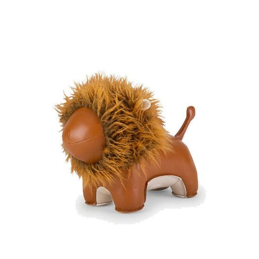 Lion Faux-leather Doorstop 22cm