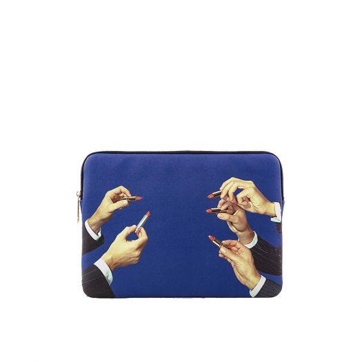 """Wears Toilerpaper Lipstick-print 13"""" Canvas Laptop Case 34cm X 25cm"""