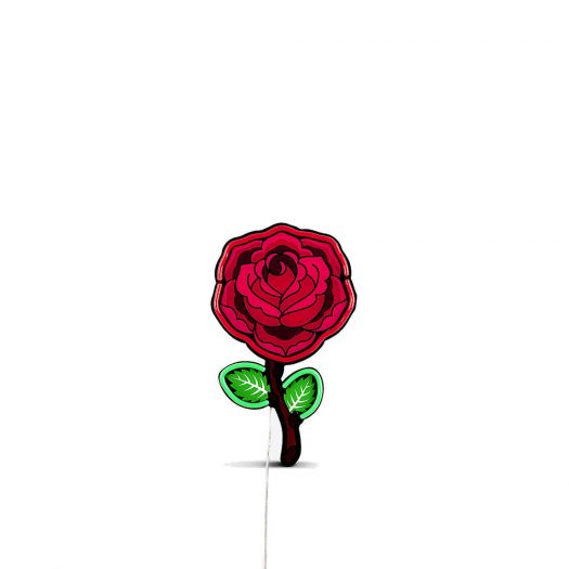 Seletti Studio Job Blow Rose Neon Wall Lamp 55cm X 33cm