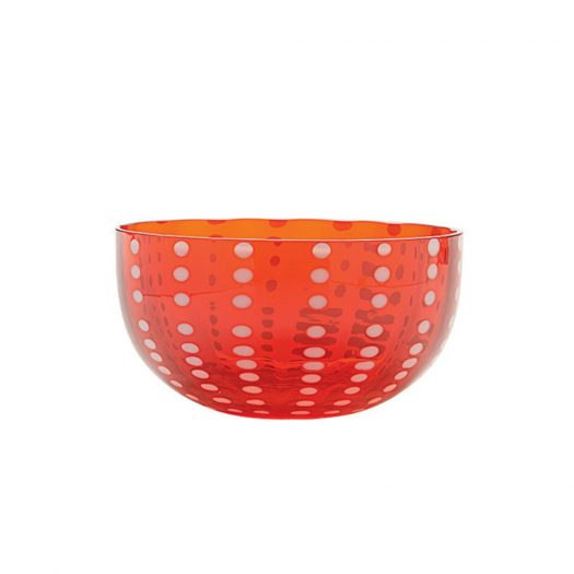Perle Glass Bowl Big Red