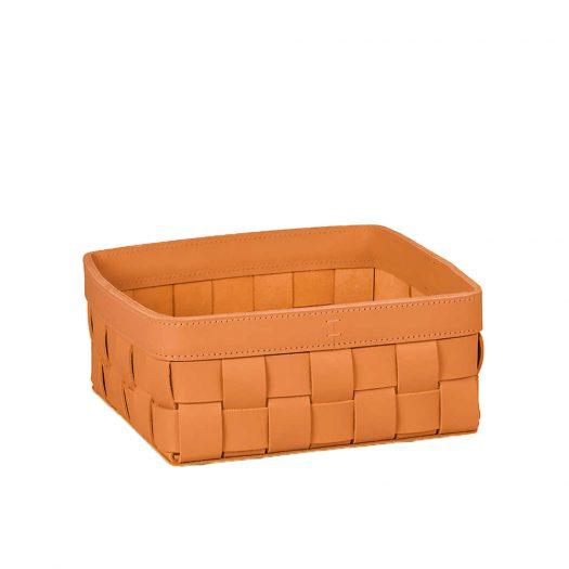 Mondina Square Low Leather Basket 11cm