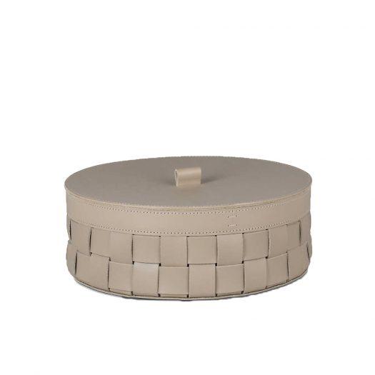Round Woven Leather Storage Box 14cm
