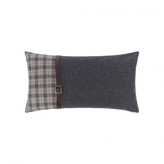 Tartan/Blue Cushion With Leather Strap Details - 30x50cm