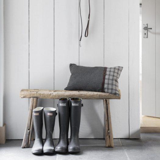 Tartan/Blue Cushion With Leather Strap Details – 30x50cm