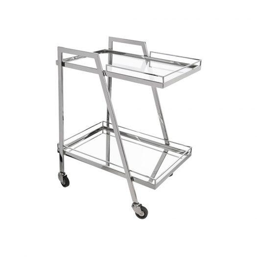 Silver Mirror Drinks Trolley - Rectangular