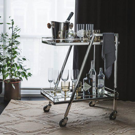 Silver Mirror Drinks Trolley – Rectangular