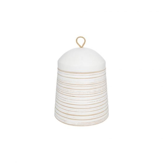 Striped Wooden Trinket Pot with Lid - Small