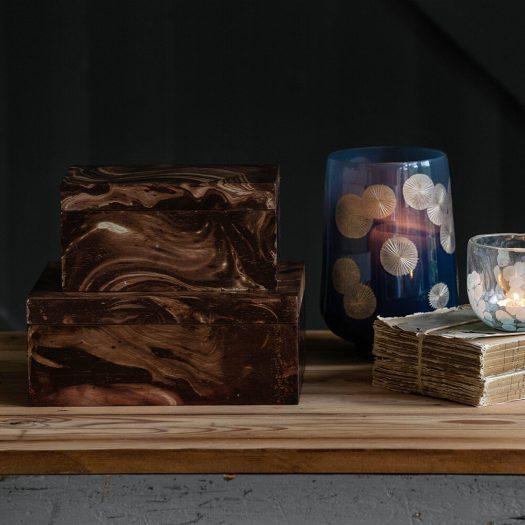Dark Marble Wooden Trinket Box – Large