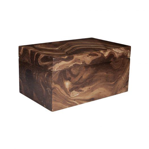 Dark Marble Wooden Trinket Box - Large