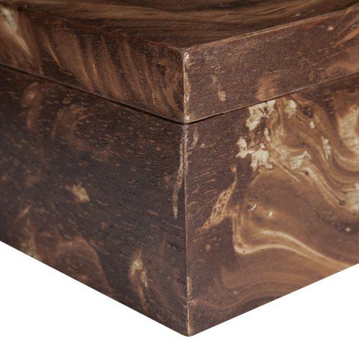 Dark Marble Wooden Trinket Box – Small