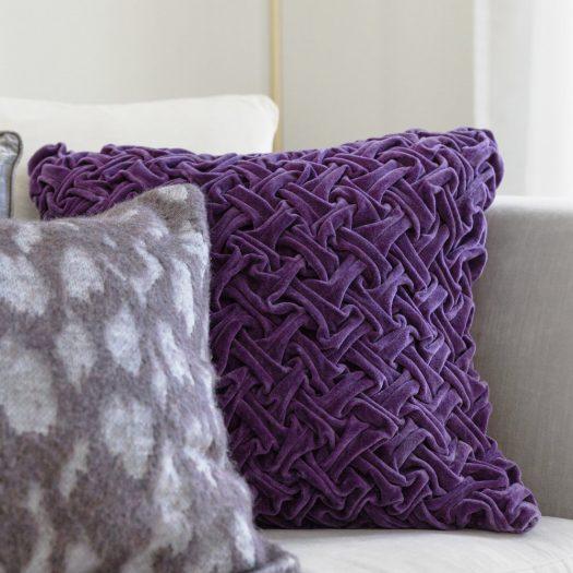 Abstract Textured Cushion – 50x50cm – Purple