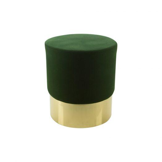 Round Velvet Stool - Green/Gold