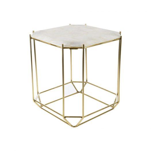 White Quartz Side Table