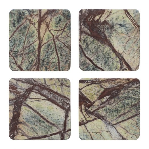 Green Marble Coasters - Set of 4