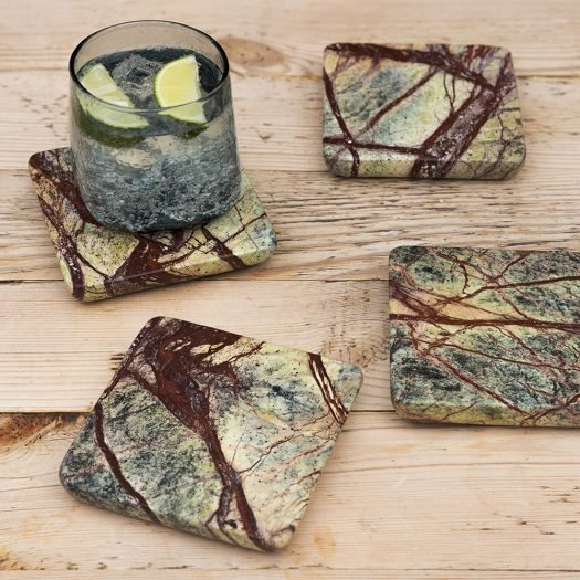 Green Marble Coasters – Set of 4