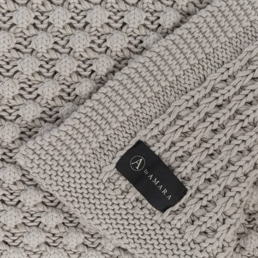 Textured Knitted Throw – 130x170cm – Grey