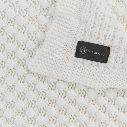 Textured Knitted Throw – 130x170cm – Ivory