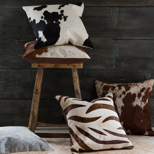 Large Zebra Print Cowhide Cushion – 45x45cm – Natural/Beige