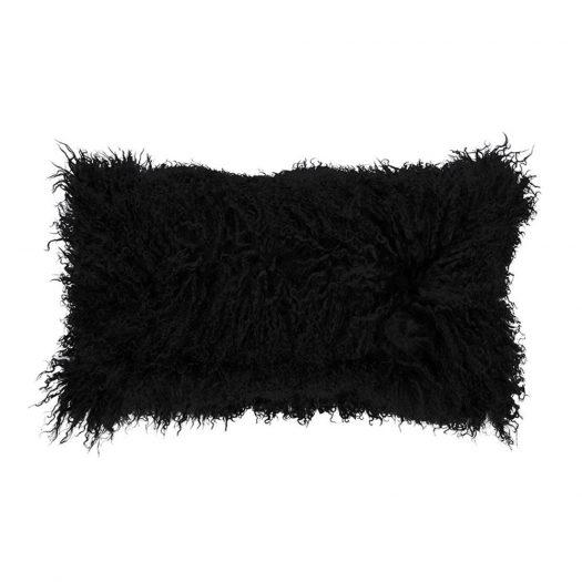 Tibetan Sheepskin Cushion - 28x56cm - Black