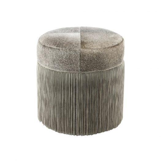 Cowhide Chain Pouf - Grey/Silver