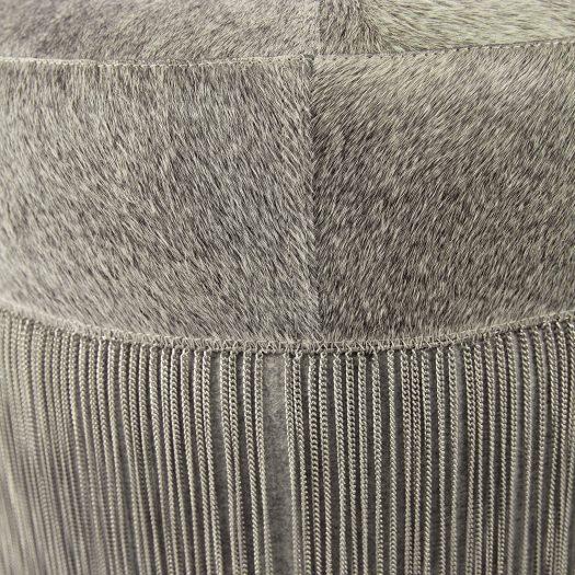 Cowhide Chain Pouf – Grey/Silver