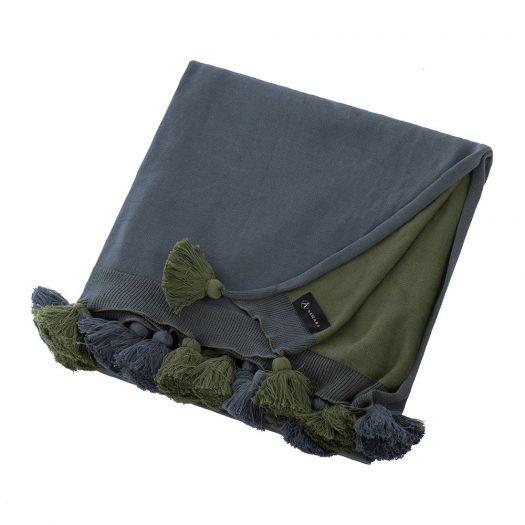 Pom Pom Knitted Throw - 130x170cm - Blue & Green