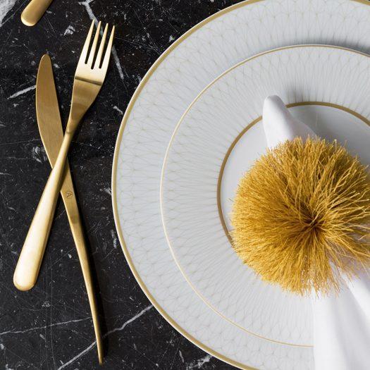 Prism Porcelain Dinner Plates – Set of 4 – Gold