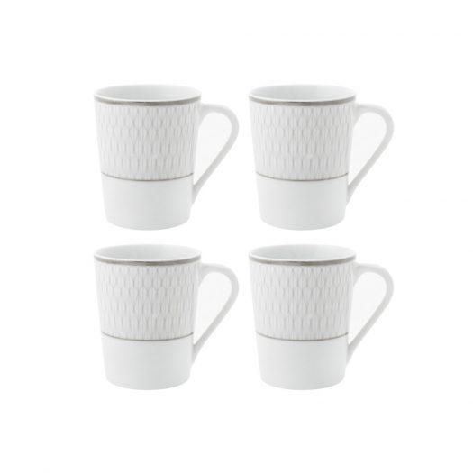 Prism Porcelain Mugs - Set of 4 - Platinum