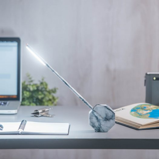 Octagon One Desk Lamp White Marble