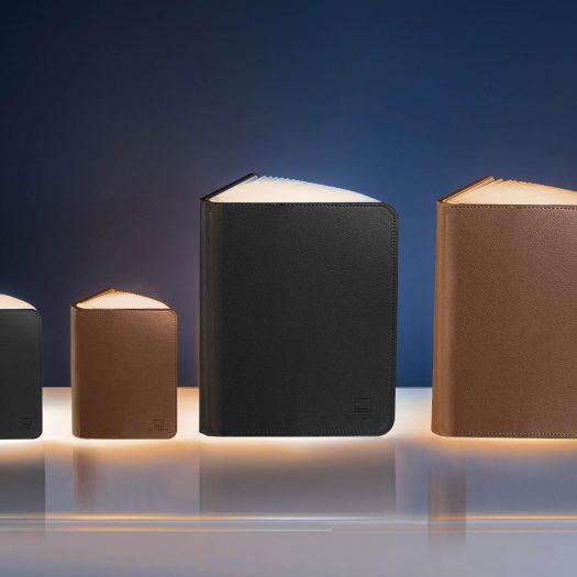 Smart Accordion Lamp LED Smart Booklight- Large Black Leather